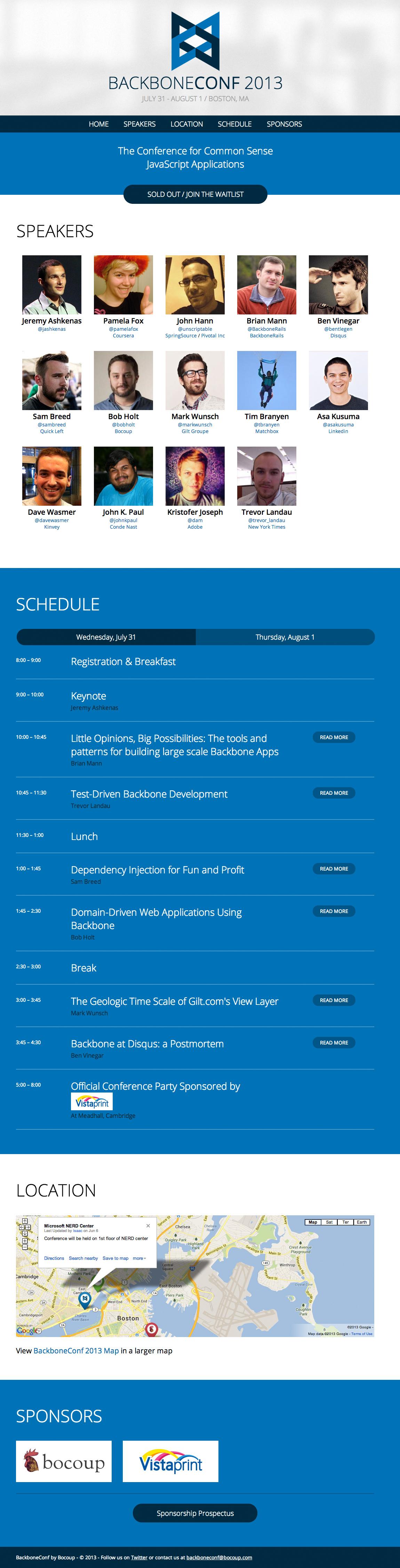 BackboneConf 2013 Website Screenshot