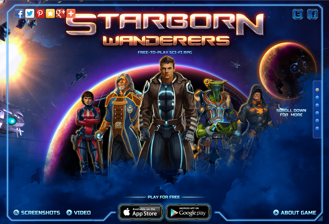 Starborn Wanderers Website Screenshot