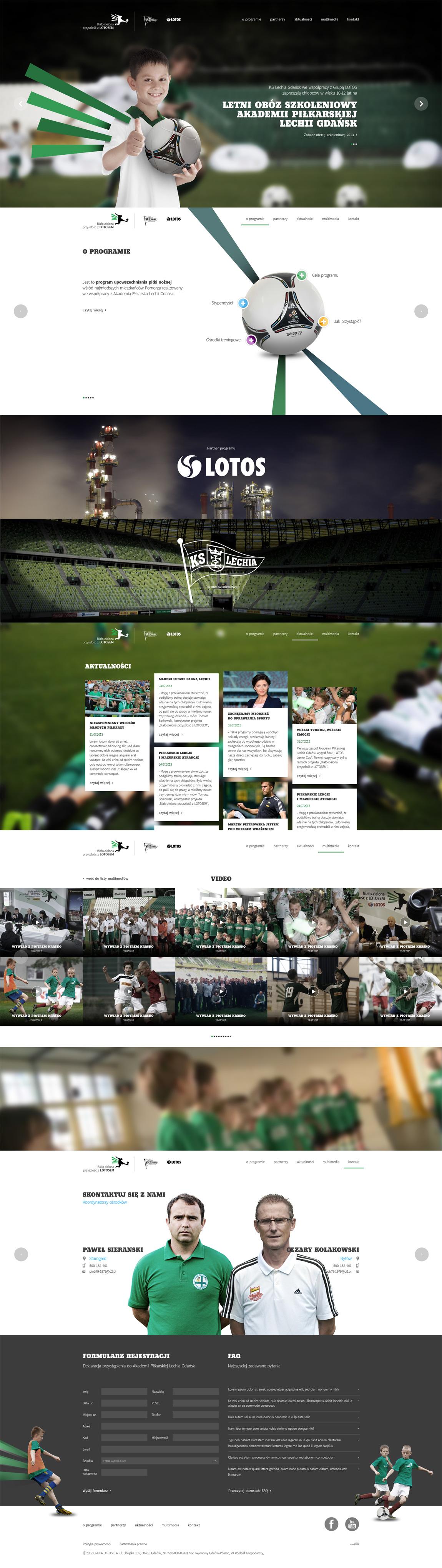 LOTOS Young Footballers Promotion Programme Website Screenshot