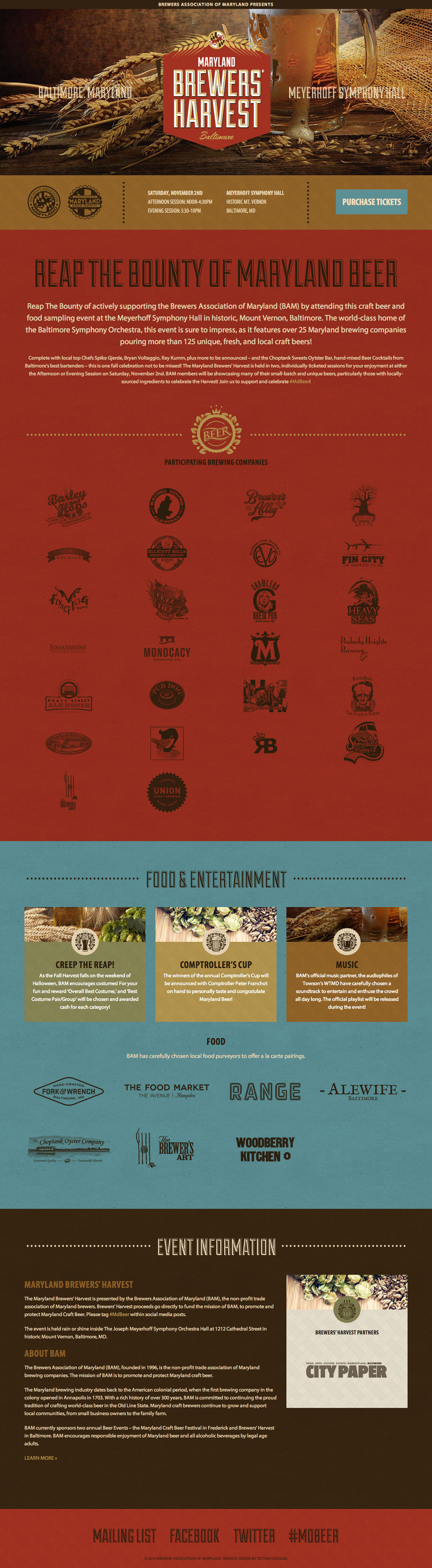 Maryland Brewers' Harvest Website Screenshot