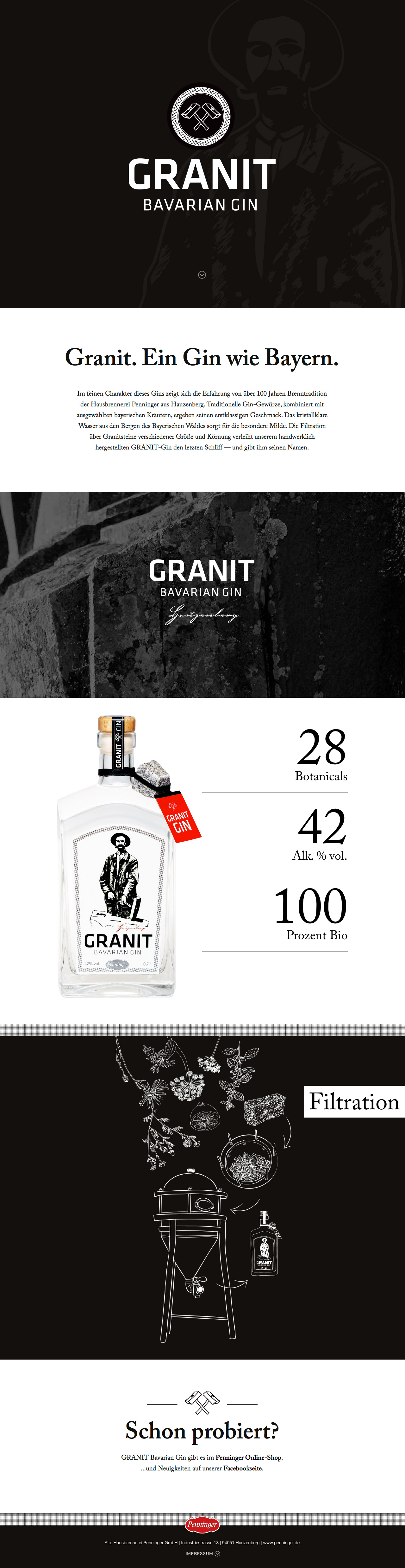Granit Bavarian Gin Website Screenshot