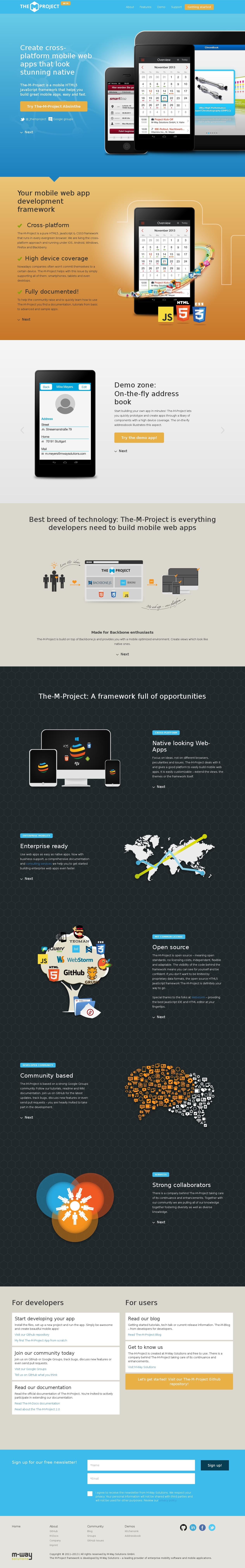 The M-Project framework Website Screenshot