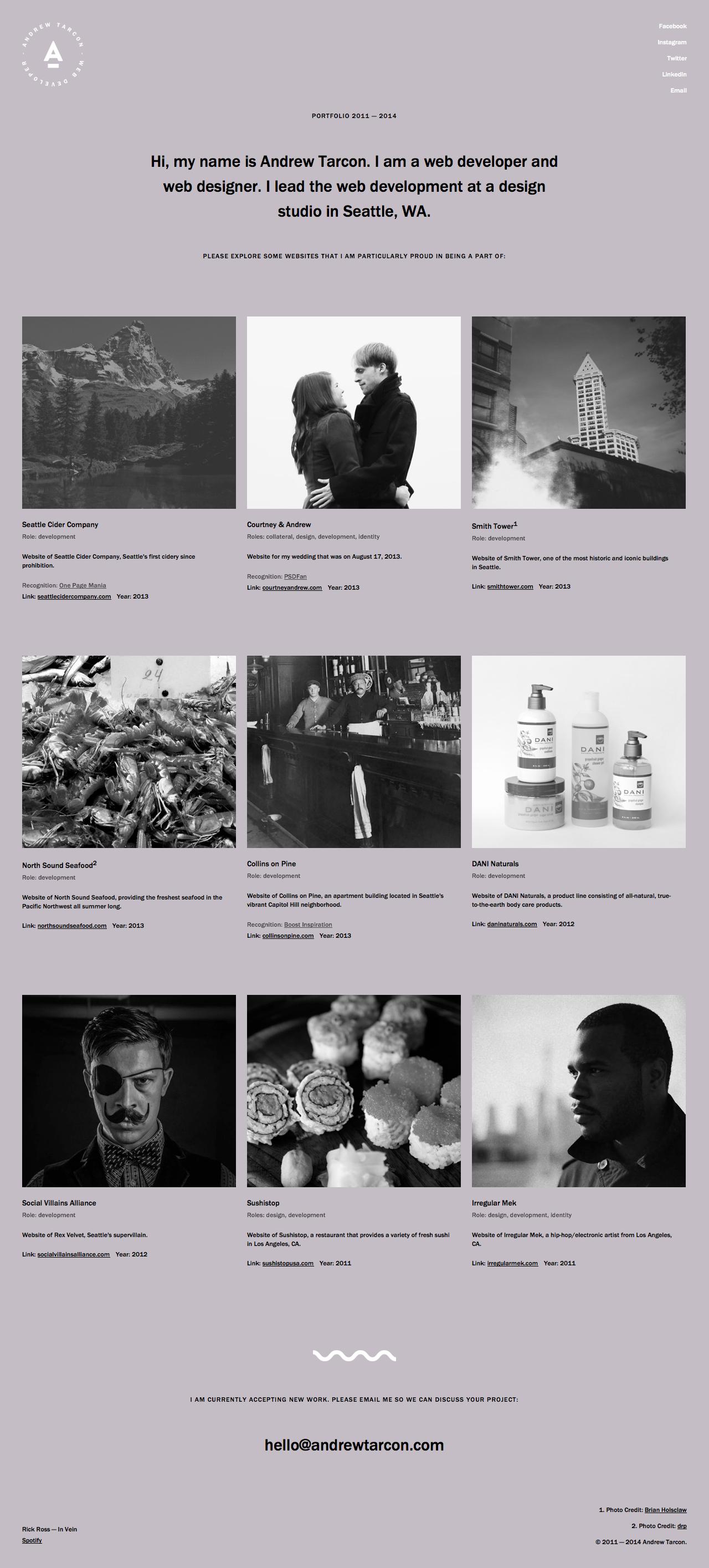 Andrew Tarcon Website Screenshot