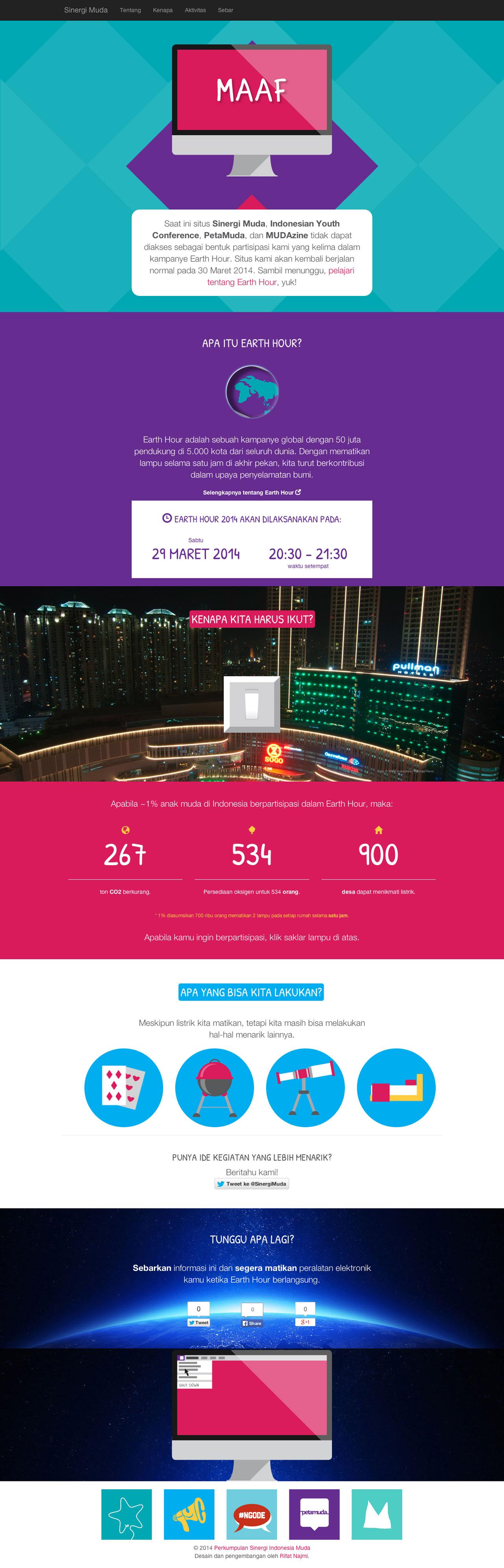 Sinergi Muda – Earth Hour Website Screenshot