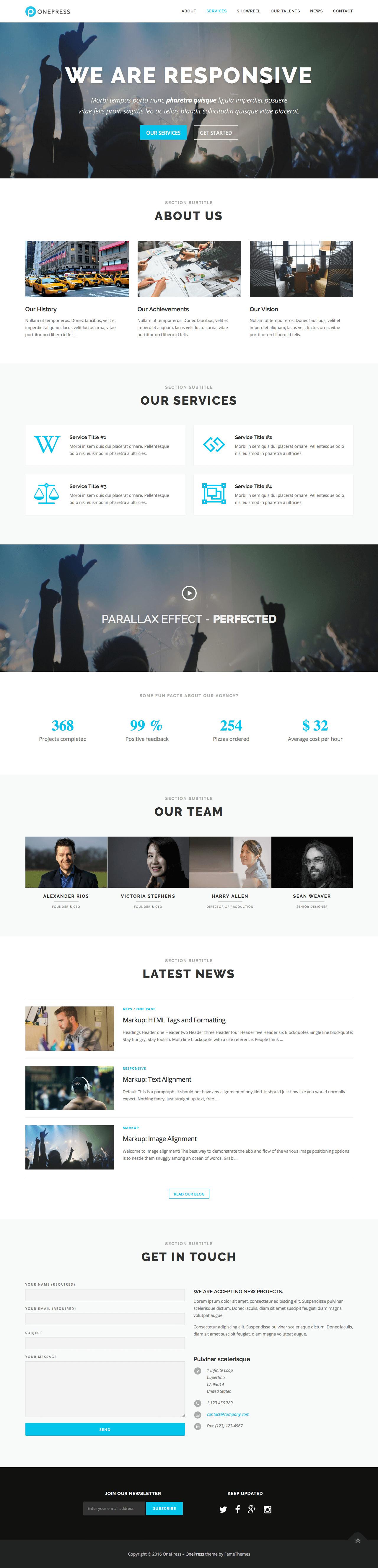 OnePress Website Screenshot